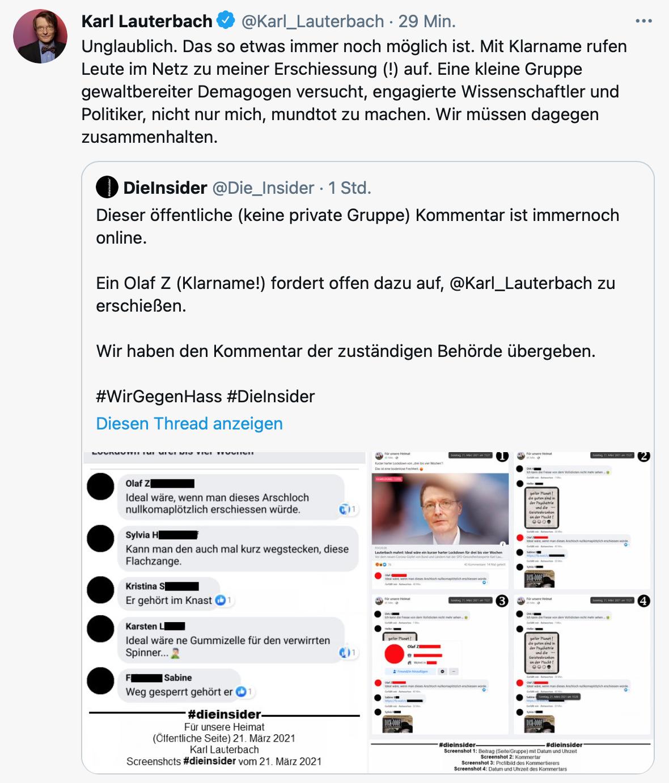 Unglaublich – Bürger rufen mit Klarnamen im Internet zum Mord an Lauterbach auf